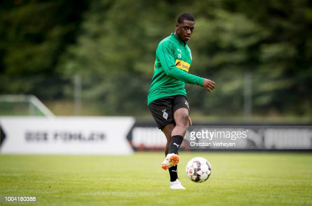Mamadou Doucoure in action during a Training Session at Borussia Moenchengladbach Training Camp at Stadion am Birkenmoos on July 23, 2018 in...