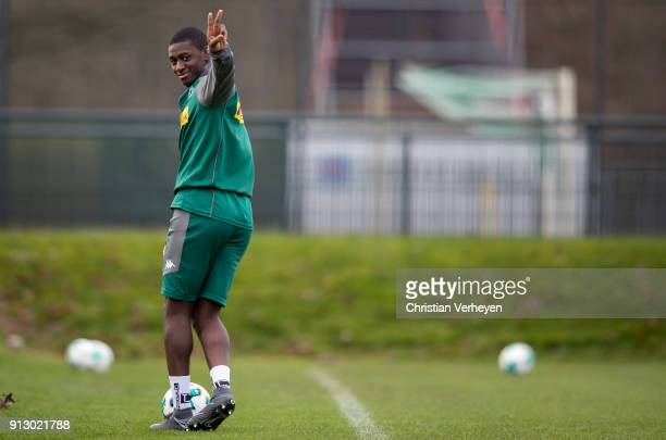 Mamadou Doucoure in action during a training session of Borussia Moenchengladbach at BorussiaPark on February 01 2018 in Moenchengladbach Germany