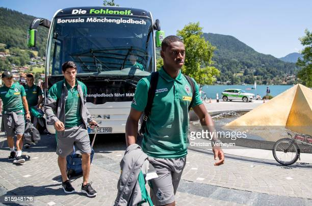 Mamadou Doucoure of Borussia Moenchengladbach arrive at the Training Camp of Borussia Moenchengladbach on July 17 2017 in RottachEgern Germany
