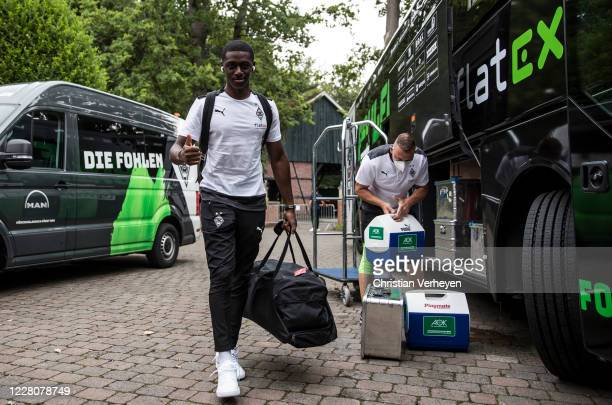 Mamadou Doucoure of Borussia Moenchengladbach arrives at the Training Camp of Borussia Moenchengladbach at Klosterpforte on August 17, 2020 in...