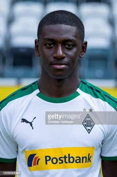 Mamadou Doucoure of Borussia Moenchengladbach poses during the Team Presentation of Borussia Moenchengladbach at Borussia-Park on August 02, 2018 in...
