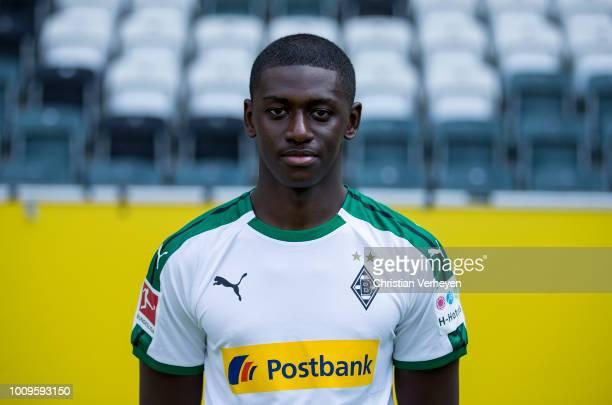 Mamadou Doucoure of Borussia Moenchengladbach poses during the Team Presentation of Borussia Moenchengladbach at BorussiaPark on August 02 2018 in...