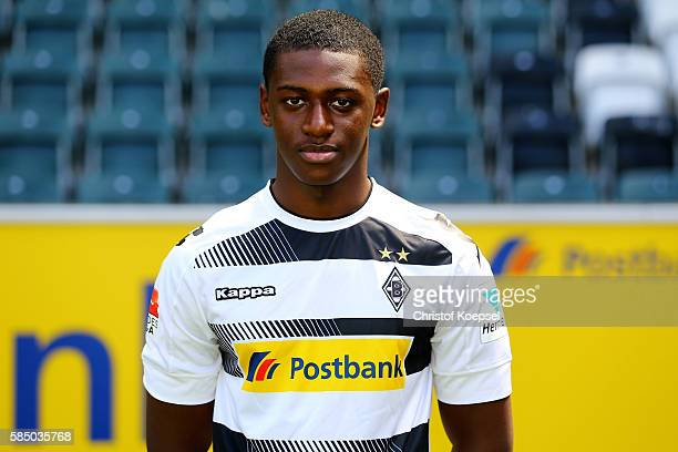 Mamadou Doucoure of Moenchengladbach poses during the team presentation of Borussia Moenchengladbach at BorussiaPark on August 1 2016 in...