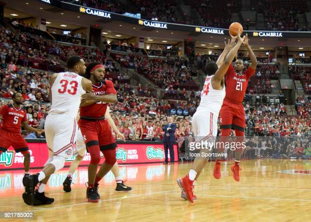 Mamadou Doucoure of the Rutgers Scarlet Knights shoots the ball over Andre Wesson of the Ohio State Buckeyes during the game between the Ohio State...