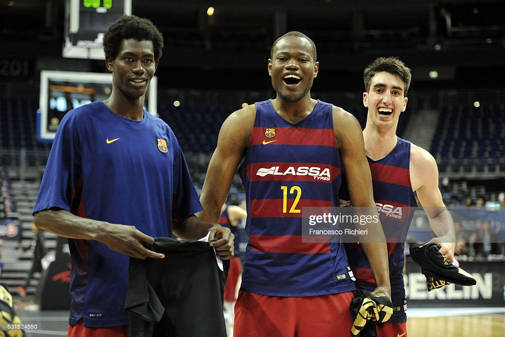 Mamadou Fall Diop, #8 of U18 FC Barcelona Lassa, Atoumane Diagne, #12 of U18 FC Barcelona Lassa and Eric Martinez Vila, #4 of U18 FC Barcelona Lassa celebrate after the Turkish Airlines Euroleague Basketball Adidas Next Generation Tournament Championship game between U18 FC Barcelona Lassa v U18 Crvena Zvezda Telekom Belgrade at Mercedes Benz Arena on May 15, 2016 in Berlin, Germany.
