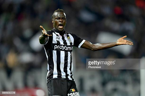 Mamadou Fall midfielder of Sporting Charleroi reacts angry during the Jupiler Pro League match between Sporting Charleroi and KAS Eupen at the Stade...