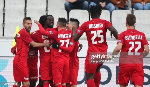 Mamadou Fall of Kas Eupen celebrates after scoring a goal during the Jupiler Pro League match between Cercle Brugge KSV and KAS Eupen at Jan Breydel...