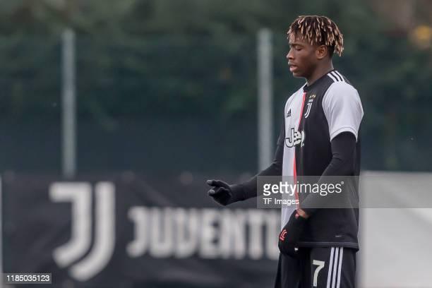 Mamadou Kaly Sene of Juventus U19 gestures during the UEFA Youth League match between Juventus U19 and Atletico Madrid U19 on November 26 2019 in...