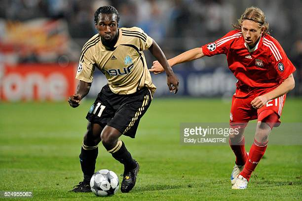 Mamadou Niang and Lucas during the 20082009 UEFA Champions League soccer match between Olympique de Marseille and Liverpool FC