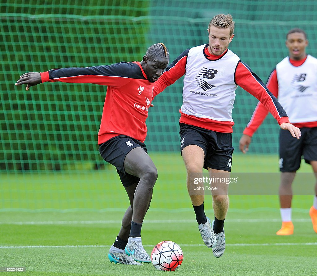 Mamadou Sakho and Jordan Henderson of Liverpool during a Liverpool FC training session at Melwood Training Ground on July 28, 2015 in Liverpool, England.