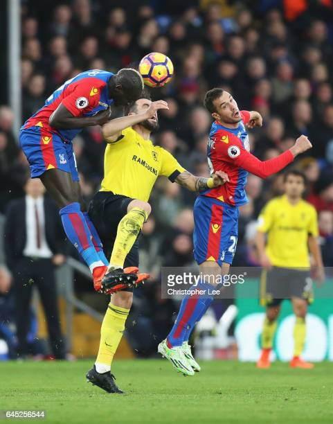 Mamadou Sakho of Crystal Palace Alvaro Negredo of Middlesbrough and Luka Milivojevic of Crystal Palace battle to win a header during the Premier...