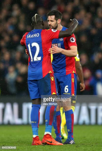 Mamadou Sakho of Crystal Palace and Scott Dann of Crystal Palace embrace after the Premier League match between Crystal Palace and Middlesbrough at...