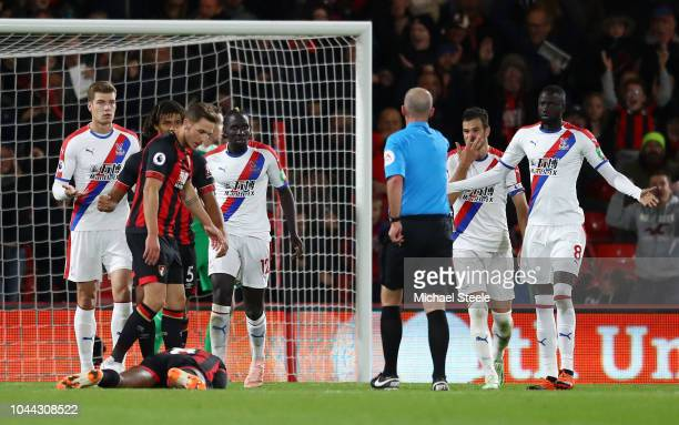 Mamadou Sakho of Crystal Palace fouls Jefferson Lerma of AFC Bournemouth which leads to Bournemouth being awarded a penalty by Referee Mike Dean...