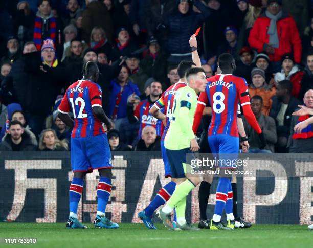 Mamadou Sakho of Crystal Palace is awarded a red card during the Premier League match between Crystal Palace and AFC Bournemouth at Selhurst Park on...