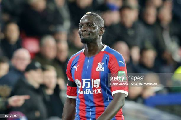 Mamadou Sakho of Crystal Palace is given a straight red for a foul on Adam Smith of Bournemouth by Referee Anthony Taylor during the Premier League...