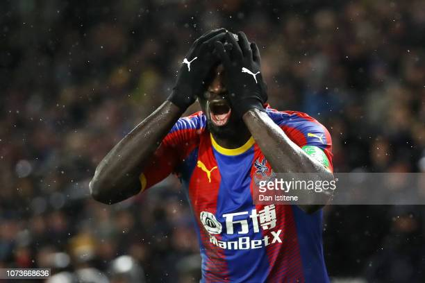 Mamadou Sakho of Crystal Palace reacts during the Premier League match between Crystal Palace and Leicester City at Selhurst Park on December 15,...