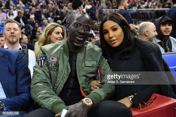 Mamadou Sakho of Crystal Palace watches the game between the Philadelphia 76ers and Boston Celtics on January 11 2018 at The O2 Arena in London...