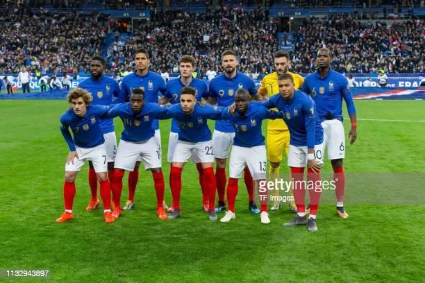 Mamadou Sakho of France Raphael Varane of France Benjamin Parvard of France Olivier Giroud of France goalkeeper Hugo Lloris of France Paul Pogba of...