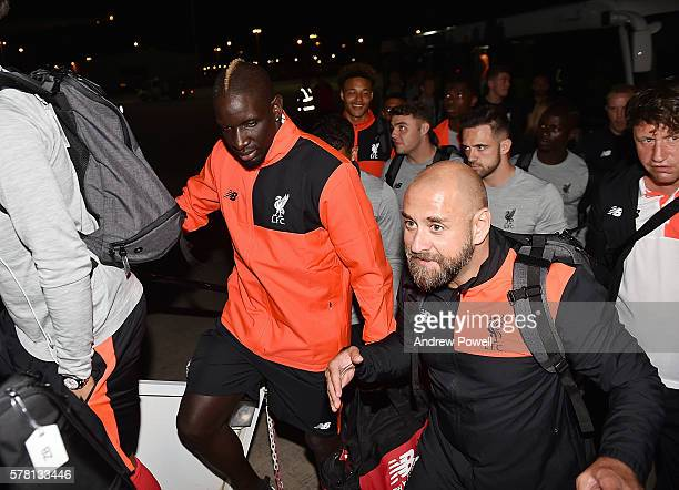 Mamadou Sakho of Liverpool boards flight to America on July 20 2016 in Liverpool England