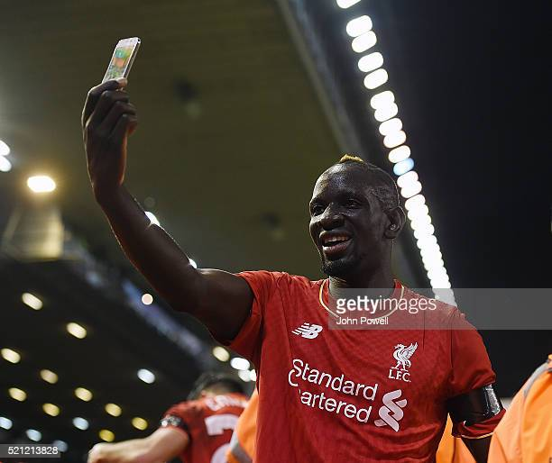 Mamadou Sakho of Liverpool celebrates after Dejan Lovren of Liverpool scores the winning goal during the UEFA Europa League Quarter Final Second Leg...