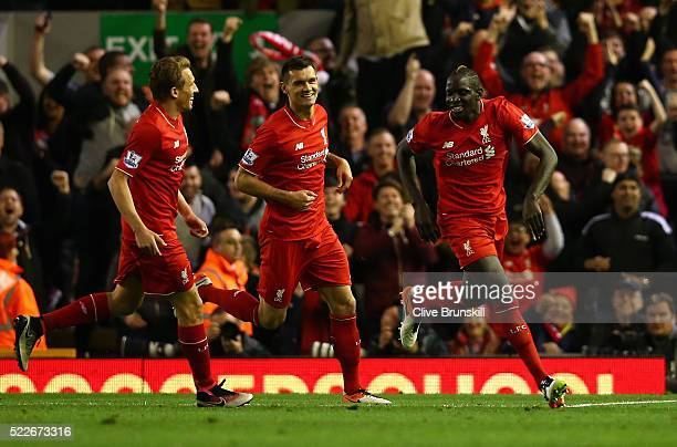 Mamadou Sakho of Liverpool celebrates scoring his sides second goal during the Barclays Premier League match between Liverpool and Everton at Anfield...