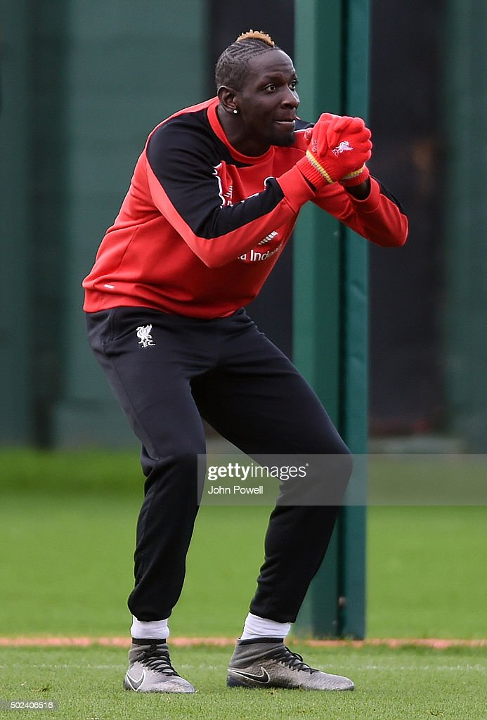 Mamadou Sakho of Liverpool during a training session at Melwood Training Ground on December 24, 2015 in Liverpool, England.