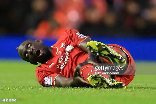 Mamadou Sakho of Liverpool goes down injured during the Barclays Premier League match between Liverpool and Crystal Palace at Anfield on November 8...