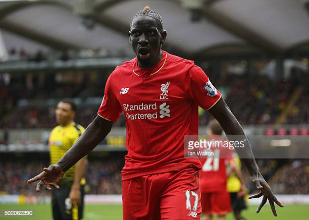 Mamadou Sakho of Liverpool reacts during the Barclays Premier League match between Watford and Liverpool at Vicarage Road on December 20 2015 in...