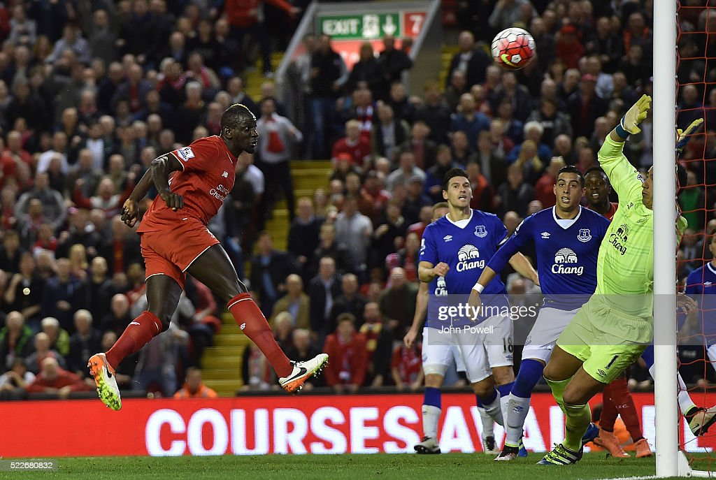 Mamadou Sakho of Liverpool scores the second goal during the Barclays Premier League match between Liverpool and Everton at Anfield on April 20, 2016 in Liverpool, England
