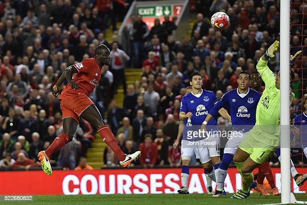 Mamadou Sakho of Liverpool scores the second goal during the Barclays Premier League match between Liverpool and Everton at Anfield on April 20 2016...