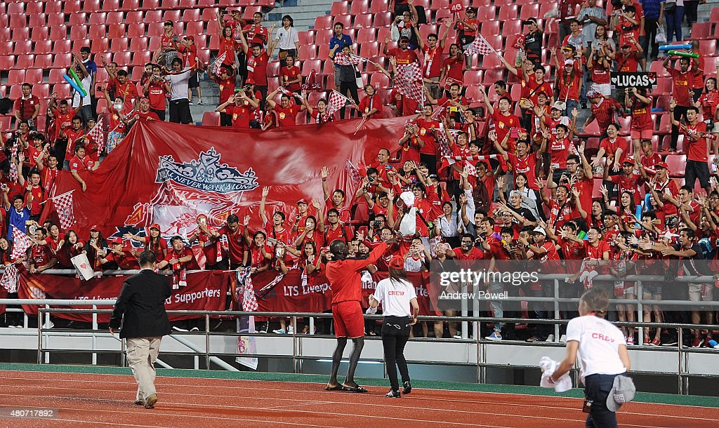 Mamadou Sakho of Liverpool shows his appreciation to the fans at the end of the international friendly match between Thai Premier League All Stars and Liverpool FC at Rajamangala Stadium on July 14, 2015 in Bangkok, Thailand.