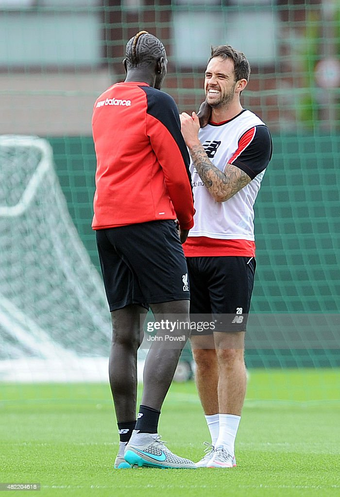 Mamadou Sakho with Danny Ings of Liverpool during a Liverpool FC training session at Melwood Training Ground on July 28, 2015 in Liverpool, England.