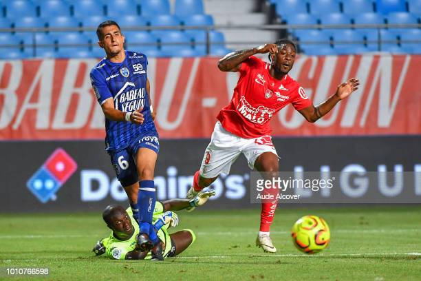 Mamadou Samassa of Troyes Ahmed Kashi of Troyes and Ulrich Kevin Mayi of Brest during the Ligue 2 match between Troyes and Brest at Stade de l'Aube...