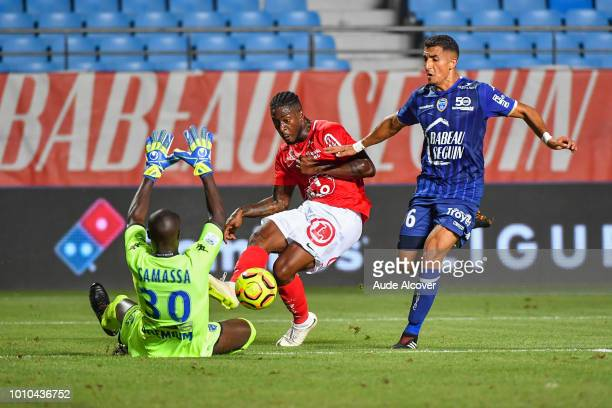 Mamadou Samassa of Troyes Ulrich Kevin Mayi of Brest and Ahmed Kashi of Troyes during the Ligue 2 match between Troyes and Brest at Stade de l'Aube...