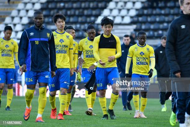 Mamadou Sylla of STVV Daichi Kamada of STVV Wataru Endo of STVV and Samuel Asamoah of STVV look dejected during the Jupiler Pro League playoff 2...
