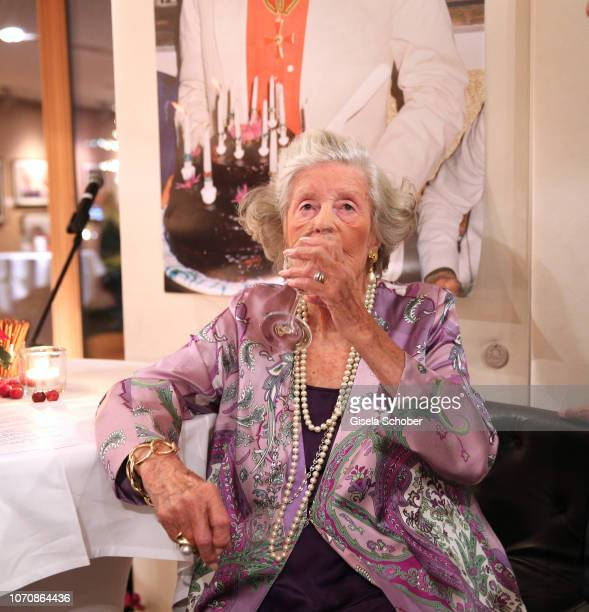 Mamarazza Fuerstin Marianne Manni zu SaynWittgensteinSayn drinks a wine during her vernissage and 99th birthday party at Country Club on December 9...