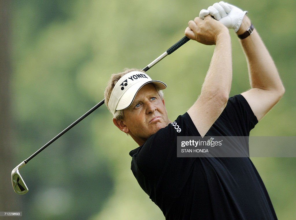 Colin Montgomerie of Scotland hits a drive off the 7th tee during the third round of the US Open Championship 17 June, 2006 at Winged Foot Golf Club in Mamaroneck, NY. Montgomerie shot a 75 to drop out of the 2nd round lead and is at 5 over par for the tournament. AFP PHOTO/Stan HONDA