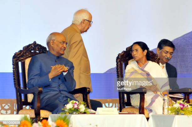 Mamata Banerjee Chief Minister of West and President of India Shri Ram Nath Kovind and Back side Keshari Nath Tripathi Governor of West Bengal during...