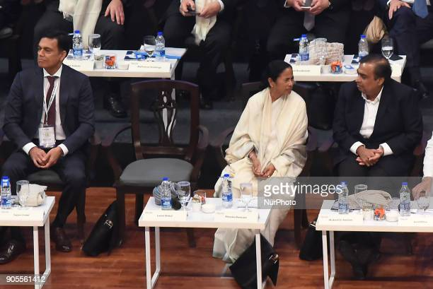 Mamata Banerjee Chief Minister of West Bengal along Mukesh Ambani Chairman and MD Reliance Industry Limited at the Bengal Global Business Summit on...