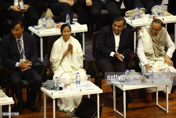 Mamata Banerjee Chief Minister of West Bengal along Mukesh Ambani chairman managing director and largest shareholder of Reliance Industries Limited...