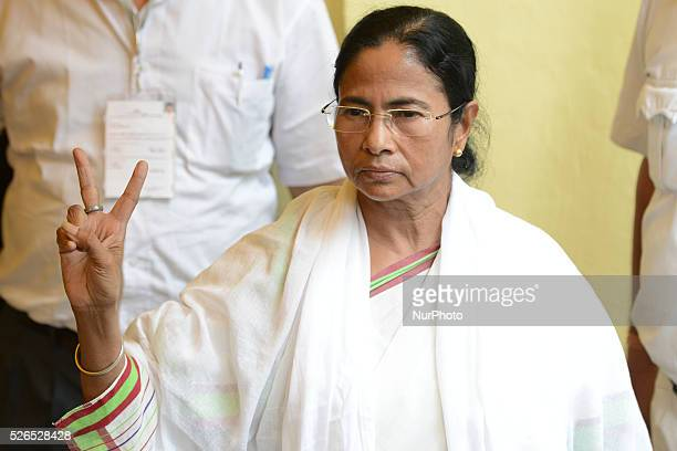 Mamata Banerjee Chief Minister of West Bengal & Chief of Trinamool Congress votes in South Kolkata Mitra Institute School poling Station during...