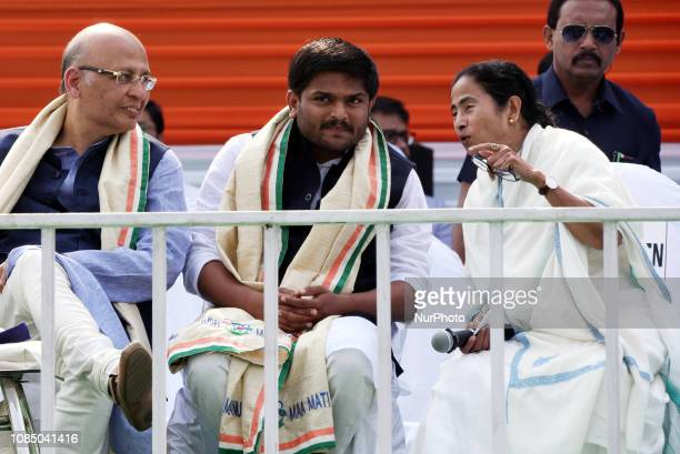 Mamata Banerjee Chief Minister of West Bengal and Chief of AITM political party Hardik Patel and Senior Congress leader Abhishek Manu Singhvi during...