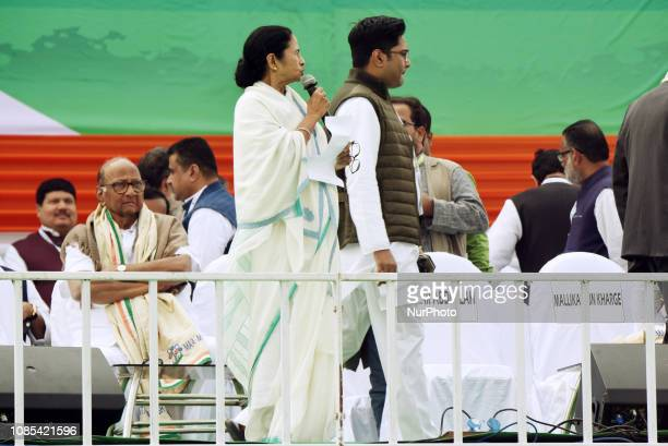 Mamata Banerjee Chief Minister of West Bengal and Chief of All India Trinamool Congress political party and and ABHISHEK BANERJEE MP during a rally...