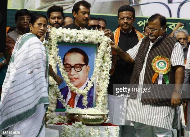 Mamata Banerjee Chief Minister of West Bengal and Chief of All India Trinamool Congress Political Party pray tribute to Dr B R Ambedkar Photographs...