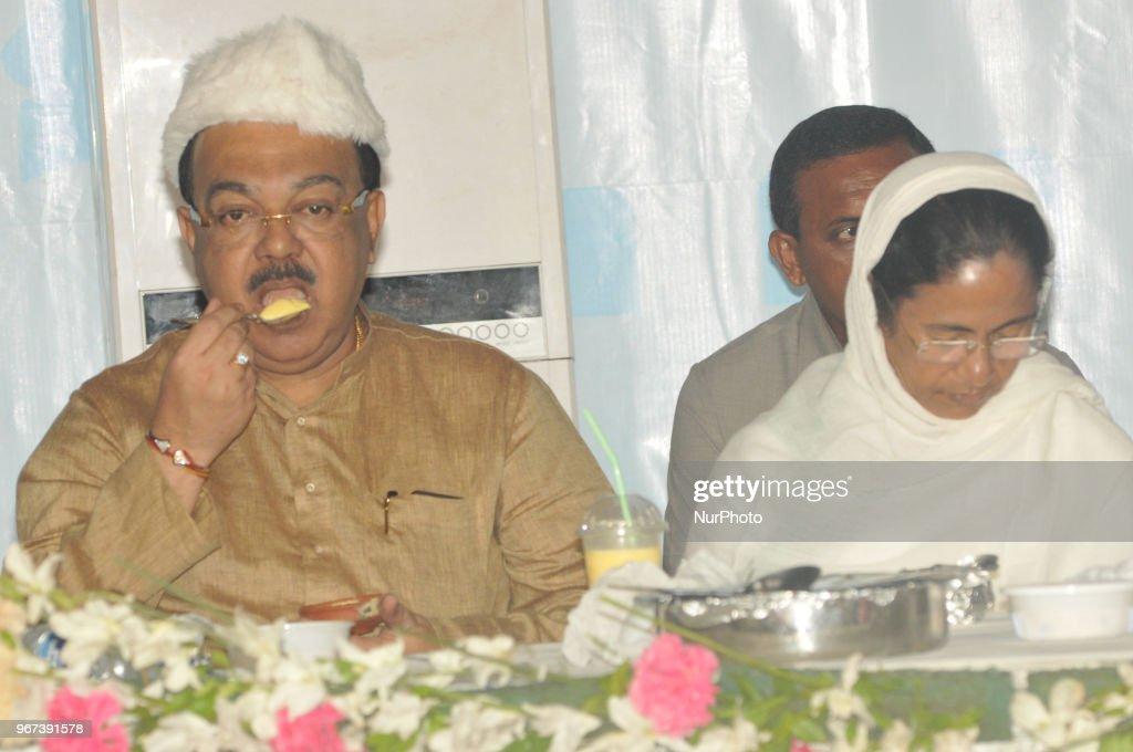 Mamata Banerjee Chief Minister of West Bengal and Chief of All India Trinamool Congress Political party and Kolkata Corporation Mayor Sovon Chatterjee at the Kolkata Corporation host by Dawat-E-Ifter on June 04,2018 in Kolkata,India.