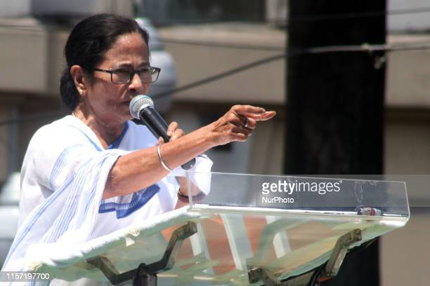 Mamata Banerjee Chief Minister of West Bengal and Chief of Trinamool Congress Political party address at the Trinamool Congress Sahid Divas rally, in...