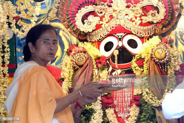 Mamata Banerjee Chief Minister of West Bengal inauguration and join the ritual parts at the ISKCON 46th Ultta Rath Yatra on July 032017 in Kolkata...