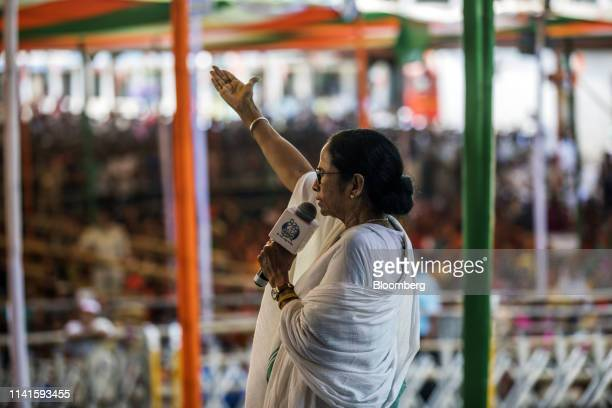 Mamata Banerjee, chief minister of West Bengal, speaks during a campaign rally in Swarupnagar, West Bengal, India, on Monday, April 29, 2019....