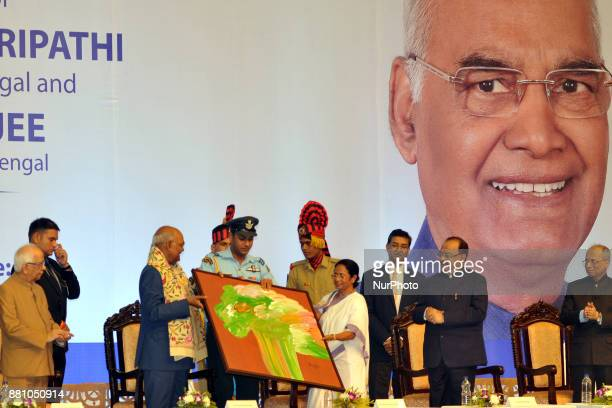 Mamata Banerjee Chief Minister of West her Penting to present President of India Shri Ram Nath Kovind and present Keshari Nath Tripathi Governor of...