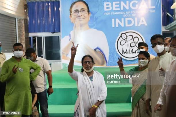Mamata Banerjee chief of Trinamool Congress showing victory singh at the press conference on May 02,2021 in Kolkata, India. All India Trinamool...